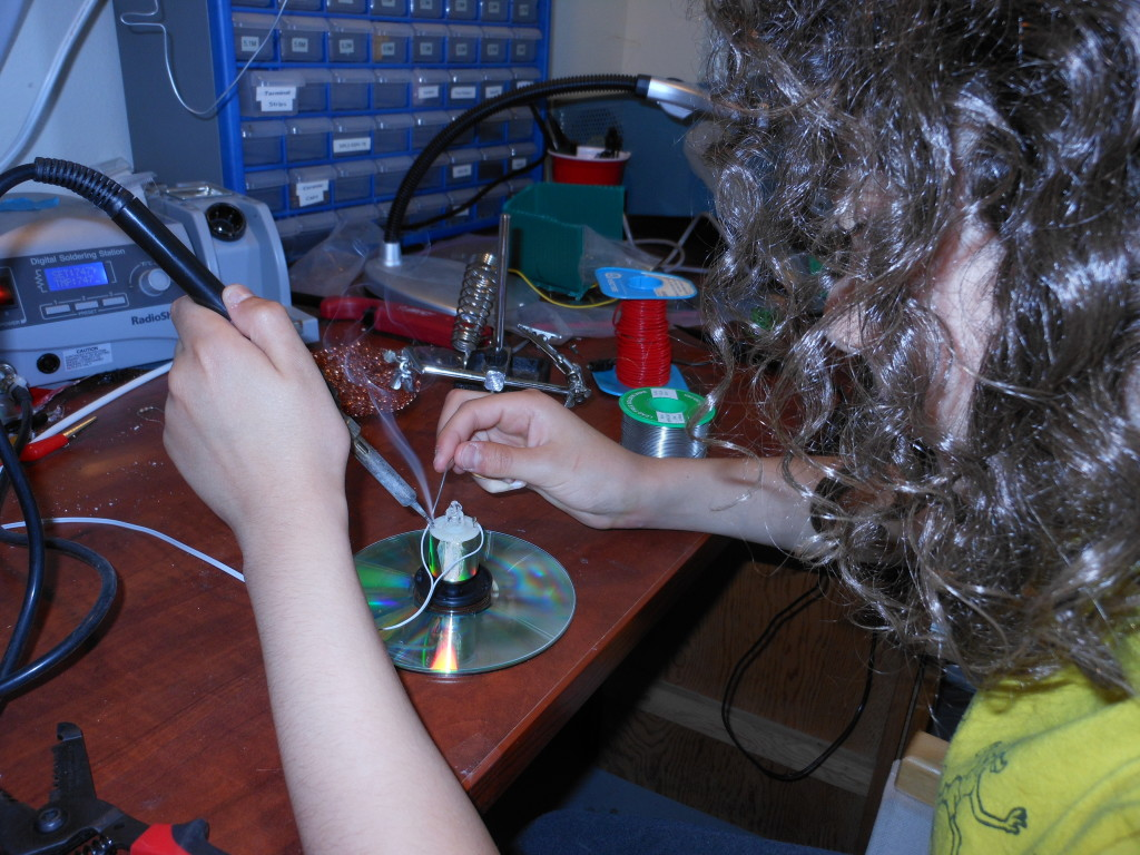Benjamin gets some soldering practice